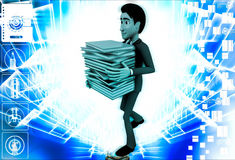 3d man carry many files in hand illustration Royalty Free Stock Images