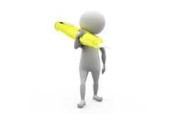 3d man carry pen concept Stock Photography
