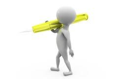 3d man carry pen concept Stock Photos