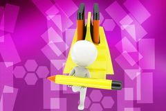 3d man  carry pencil illustration Stock Photography
