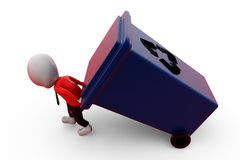 3d man carry recycle bin concept Stock Images