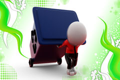 3d man carry recycle bin illustration Stock Image