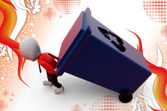 3d man carry recycle bin illustration Royalty Free Stock Images