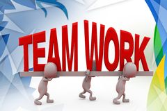 3d man carry teamwork font  illustration Royalty Free Stock Images