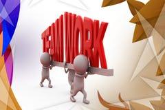 3d man carry teamwork font  illustration Stock Image