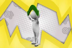3d man carry up illustration Stock Images