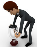 3d man carry up silver winner cup award concept Stock Image