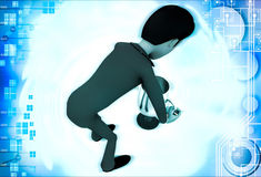 3d man carry up silver winner cup award illustration Stock Images
