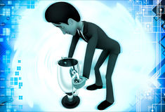 3d man carry up silver winner cup award illustration Royalty Free Stock Photos