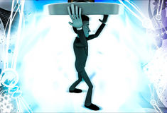 3d man carry yellow target on head illustration Stock Image