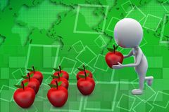 3d man carrying a apple illustration Royalty Free Stock Images