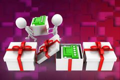 3d man carrying battery ,battery inside gift illustration Royalty Free Stock Image