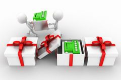 3d man carrying battery ,battery inside gift Stock Images