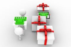 3d man carrying battery ,battery inside gift Stock Photos