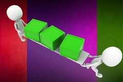 3d man carrying box illustration Royalty Free Stock Images