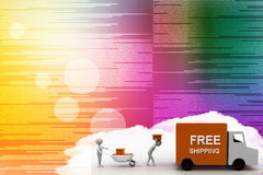 3d man carrying boxes to free shipping van Illustration Stock Images