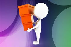 3d man carrying cargo illustration Royalty Free Stock Images