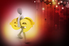 3d man carrying the dollar sign. In color background Royalty Free Stock Image