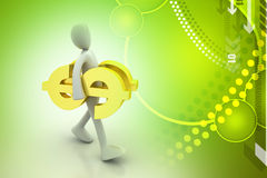 3d man carrying the dollar sign. In color background Royalty Free Stock Photography