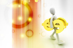 3d man carrying the dollar sign Royalty Free Stock Photography