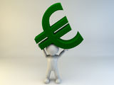 3D man carrying euro. Symbol Royalty Free Stock Photography