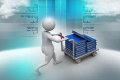3d man carrying the file in trolley Stock Image