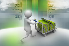 3d man carrying the file in trolley Stock Photography