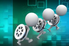3d man carrying film reel Illustration Stock Photos