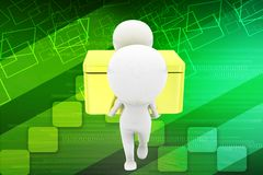 3d man carrying gift box  / box illustration Royalty Free Stock Images