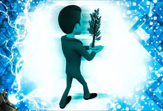 3d man carrying green plant in hand illustration Royalty Free Stock Photography