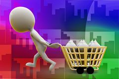 3d man carrying ice cream on cart illustration Stock Images