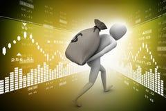 3d man carrying money bag Stock Photography