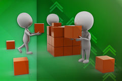 3d man carrying orange box illustration Stock Photo