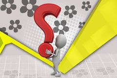 3d man carrying question mark illustration Royalty Free Stock Images