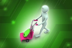3d man carrying shopping cart with house key Royalty Free Stock Photography