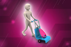 3d man carrying shopping cart with house key Stock Photography