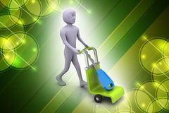 3d man carrying shopping cart with house key Stock Images