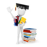 3d man carrying some books Royalty Free Stock Images