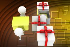 3d man carrying special gifts illustration Royalty Free Stock Photography