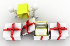 3d man carrying special gifts Stock Photo