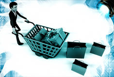3d man carrying trolly of gift boxes illustration Royalty Free Stock Image