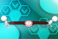 3d man carrying watch illustration Royalty Free Stock Photos