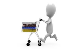 3d man cart files concept Stock Images