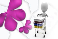 3d man cart files illustration Stock Photos