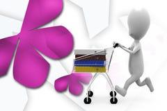 3d man cart files illustration Stock Photo