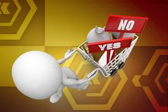 3d man cart ice cream yes or no illustration Royalty Free Stock Images