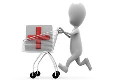 3d man cart medicine concept Stock Photos