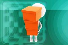 3d man carying cargo illustration Royalty Free Stock Image