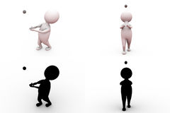 3d man catch cricket concept collections with alpha and shadow channel Stock Photo