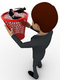 3d man catching black bugs in red dustbin basket concept Royalty Free Stock Photography